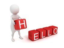 3d mens met rode HELLO-tekststuk speelgoed blokken Royalty-vrije Stock Afbeeldingen