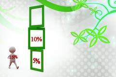 3d mens 5 10 15 percenten illustratie Royalty-vrije Stock Fotografie