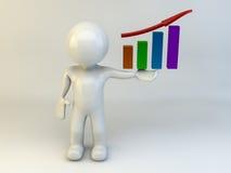 3D mens toont grafiek Royalty-vrije Stock Afbeelding