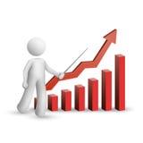 3d mens verklaart de grafiek Stock Afbeelding