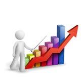 3d mens verklaart de grafiek Royalty-vrije Stock Fotografie