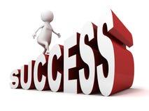 3d mens voert op de ladder van de succestekst op Royalty-vrije Stock Afbeelding