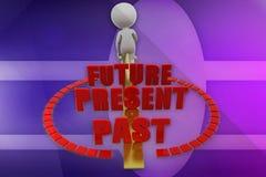 3d mens voorbij huidige toekomstige illustratie Stock Afbeeldingen