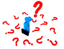 3d menselijk karakter vele rode vragen Royalty-vrije Stock Afbeelding