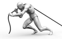 3D Menselijke het harde werktrekkracht stock illustratie