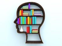 3d menselijke hoofdvormboekenrek en boeken Royalty-vrije Stock Foto