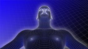 3D Menselijke Wireframe op Blauwe Achtergrond Royalty-vrije Stock Foto's