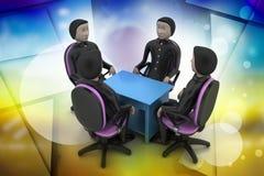 3d mensen in commerciële vergadering Stock Afbeelding
