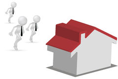 3d mensen die voor een huis of voor het huis lopen Stock Foto