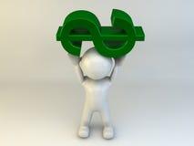 3D mensen dragende dollar Royalty-vrije Stock Foto