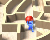 3d mensen duwende bal in houten labyrintspel, 3D illustratie Royalty-vrije Stock Foto's