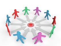 3d mensen in een cirkel rond een doel Royalty-vrije Stock Afbeelding