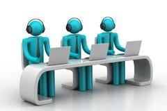 3d mensen in een modern bureau met laptop Stock Foto