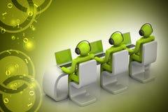 3d mensen in een modern bureau met laptop Royalty-vrije Stock Foto's