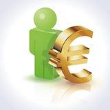 3D Mensen Euro Teken vector illustratie
