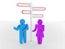 3d mensen - man en vrouw, persoon die zich voor wegsi bevinden Vector Illustratie