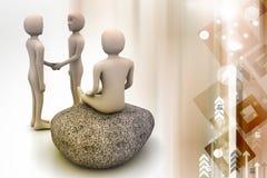 3d mensen in meditatie Royalty-vrije Stock Afbeelding