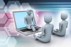 3d mensen in meditatie met laptop Royalty-vrije Stock Foto