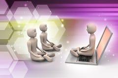 3d mensen in meditatie met laptop Royalty-vrije Stock Foto's