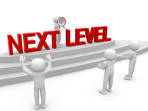 3d mensen - mens, persoon met ladder Volgende niveau Vooruitgang concep Royalty-vrije Stock Afbeelding