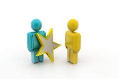 3d mensen met een gouden ster in een hand Royalty-vrije Stock Foto's