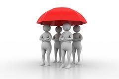 3d mensen onder een rode paraplu Stock Fotografie