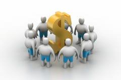 3D mensen rond dollar ondertekenen Royalty-vrije Stock Afbeelding