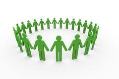 3d mensen samen in cirkel Stock Afbeelding