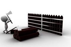 3d mensen scherp hout met bijl Stock Foto