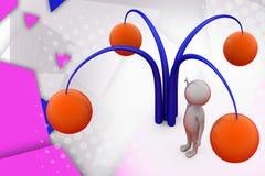 3d mensenboom met fruitillustratie Stock Afbeelding