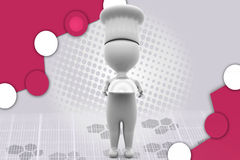 3d mensenchef-kok met dienbladillustratie Stock Afbeeldingen