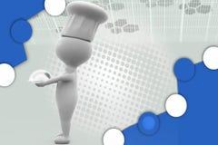 3d mensenchef-kok met dienbladillustratie Stock Fotografie