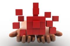3d mensenhanden - duurzame ontwikkeling met Kubusconcept Royalty-vrije Stock Afbeeldingen