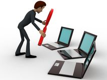 3d mensenonderzoek op laptop die vergrootglasconcept hanteren Royalty-vrije Stock Foto