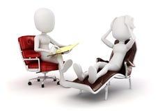 3d mensenpsycholoog en patiënt vector illustratie
