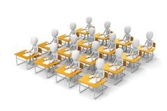 3d mensenstudenten in klaslokaal Stock Foto's