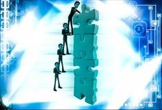 3d mensenteam maakt lange bouw van de illustratie van het puzzelstuk Stock Foto's