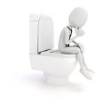 3d mensenzakenman op de toiletzetel Royalty-vrije Stock Afbeelding