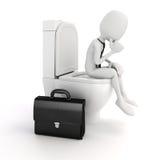 3d mensenzakenman op de toiletzetel Stock Afbeeldingen