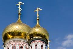 Dômes d'or d'église de Shipka, Bulgarie Photo libre de droits