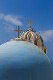 Dômes dans Santorini Images stock