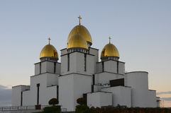 Dômes de l'église de la nativité de Vierge Marie béni Photos stock
