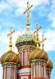 Dômes de mosaïque sur l'église Nizhny Novgorod de Stroganov Images libres de droits