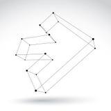 3d mesh black and white forward arrow  on white backgrou Royalty Free Stock Image