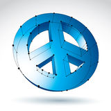 3d mesh blue peace icon  on white background, colorful l. Attice peace symbol from 60s, dimensional tech circle hippy object with black connected lines, bright Royalty Free Stock Images