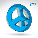 3d mesh blue web peace icon isolated on white. Background. Colorful round lattice peace symbol from 60s, Dimensional tech hippy object with black connected Royalty Free Stock Photos