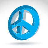 3d mesh blue web peace icon  on white background, colorf. Ul round lattice peace symbol from 60s, dimensional tech circle hippy object, bright clear eps 8 vector Royalty Free Stock Photos