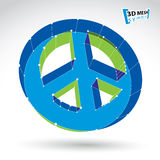 3d mesh blue web peace icon  on white background, colorf. Ul round peace symbol from 60s, dimensional tech circle hippy object, bright clear eps 8 vector Stock Image