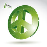 3d mesh green peace icon isolated on white background, colorful. Ecology lattice peace symbol from 60s, dimensional tech circle hippy object with white Stock Photos