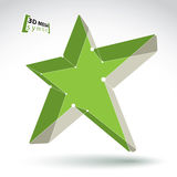 3d mesh green star sign  on white background, colorful e Stock Photo